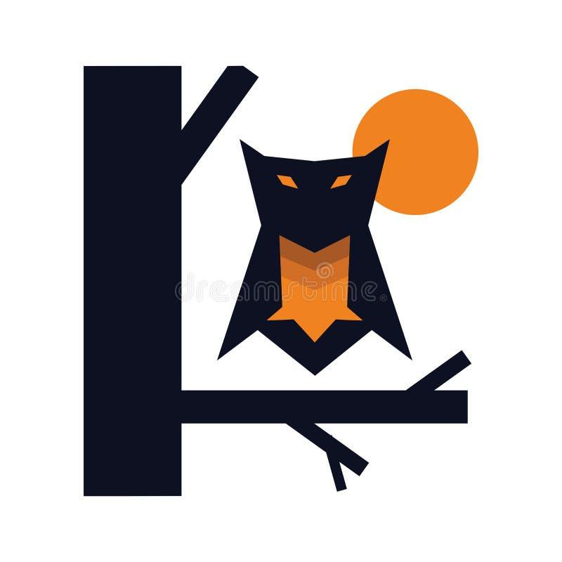 Nachteule am Baumillustrations-Logokonzept stock abbildung