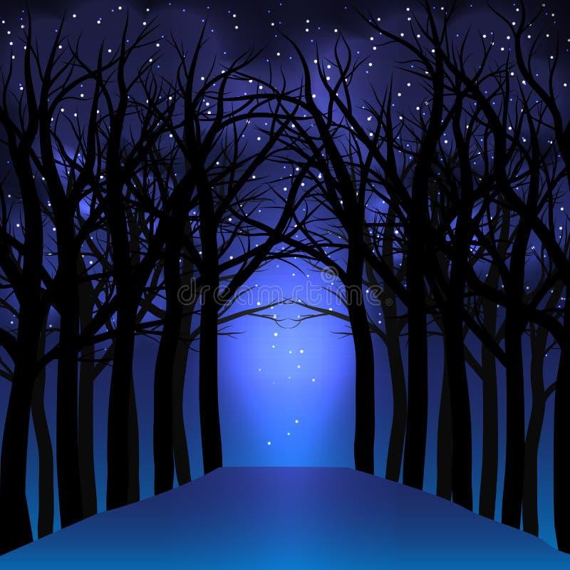 Nachtfantasie met dode bomen en ster van dageraad vector illustratie