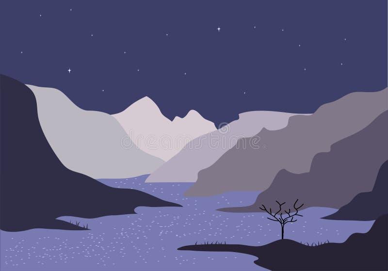 Nachtfluß lizenzfreie abbildung