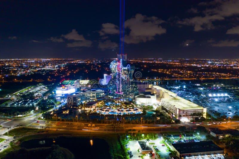 Nachtfoto Seminar Hard Rock Casino Laserlichter stockfoto