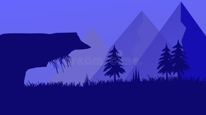 Nachtgebirgseinfache flache Landschaftsgrafik lizenzfreie stockfotografie