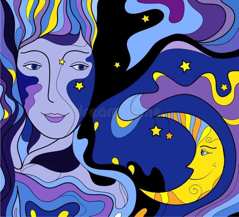 Nachtgesicht betrachtet den Mond und das Lächeln, Nachtmärchen, Frauengesichtsblick auf den Mond und Lächeln, Nachtfarbe, lizenzfreie abbildung