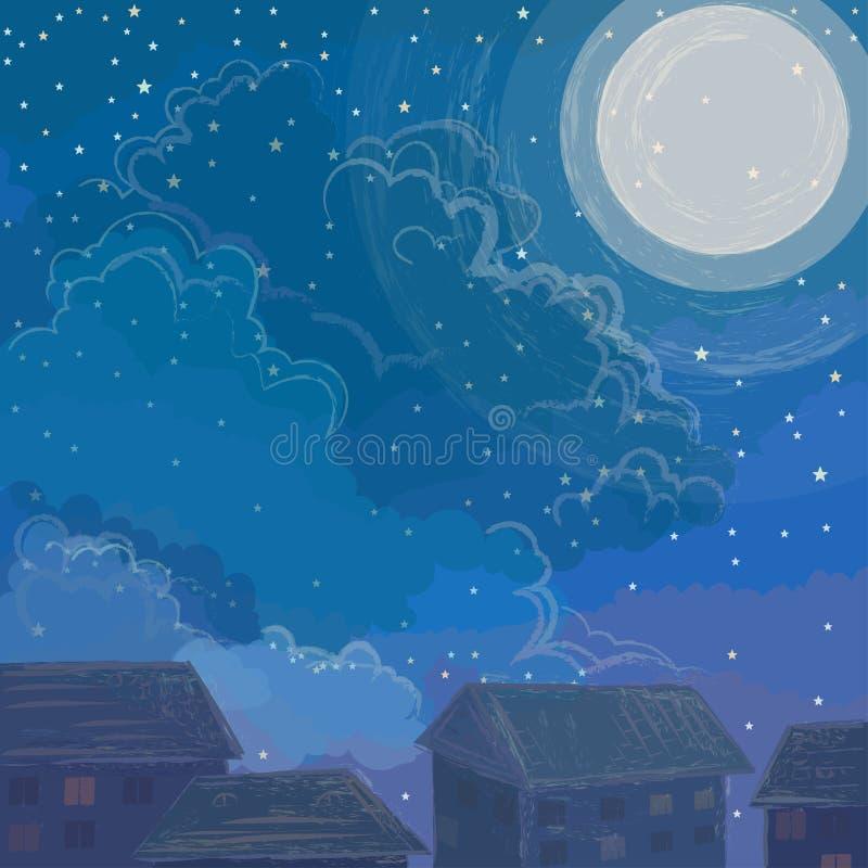 Nachthemel en leuke huizen stock afbeeldingen