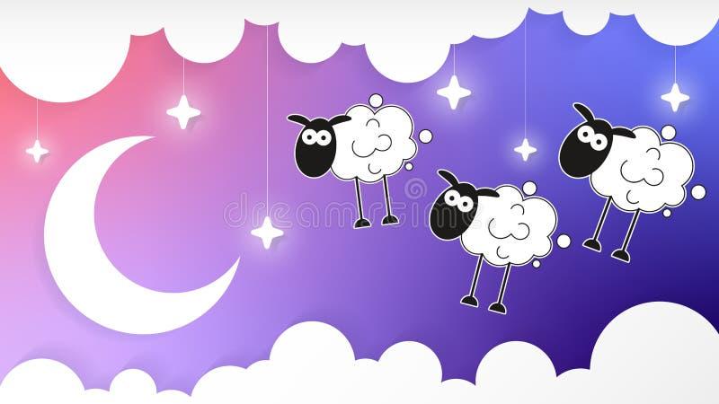 Nachthemel met Crescent Moon And Clouds And-Schapen vector illustratie