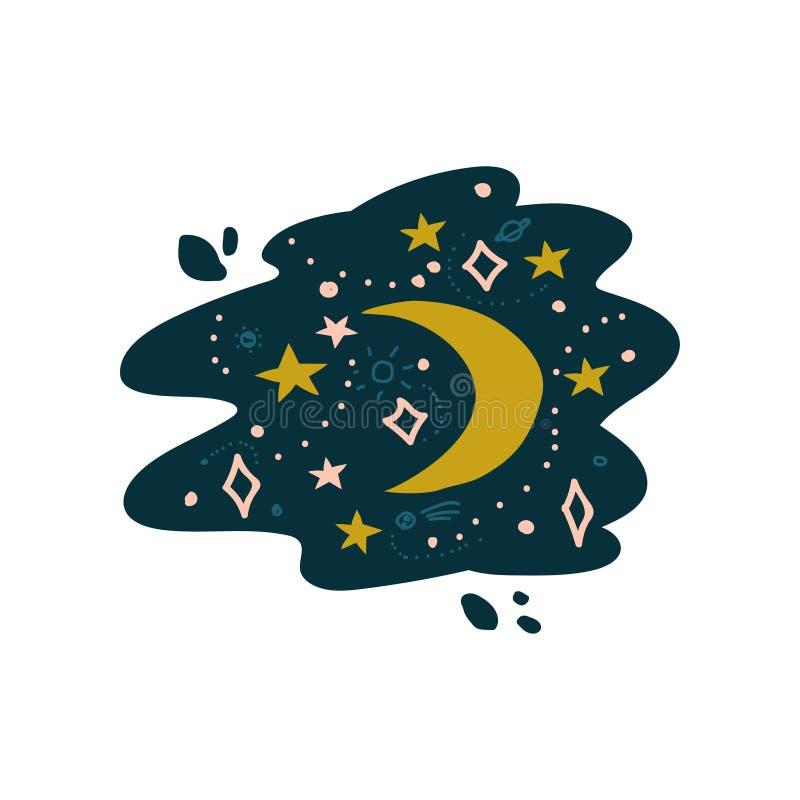 Nachthemel met Crescent Moon en Sterren Vectorillustratie stock illustratie