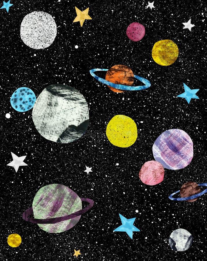 Nachthemel met hand geschilderde sterren en planeten Kosmos en ruimteillustratie Hand getrokken grafiek Zwarte donkere achtergron stock illustratie