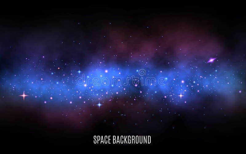 Nachthemel met veel Sterren Melkachtige manier met kleurrijke sterren Blauwe nevel en stardust Melkwegachtergrond met glanzende s royalty-vrije illustratie