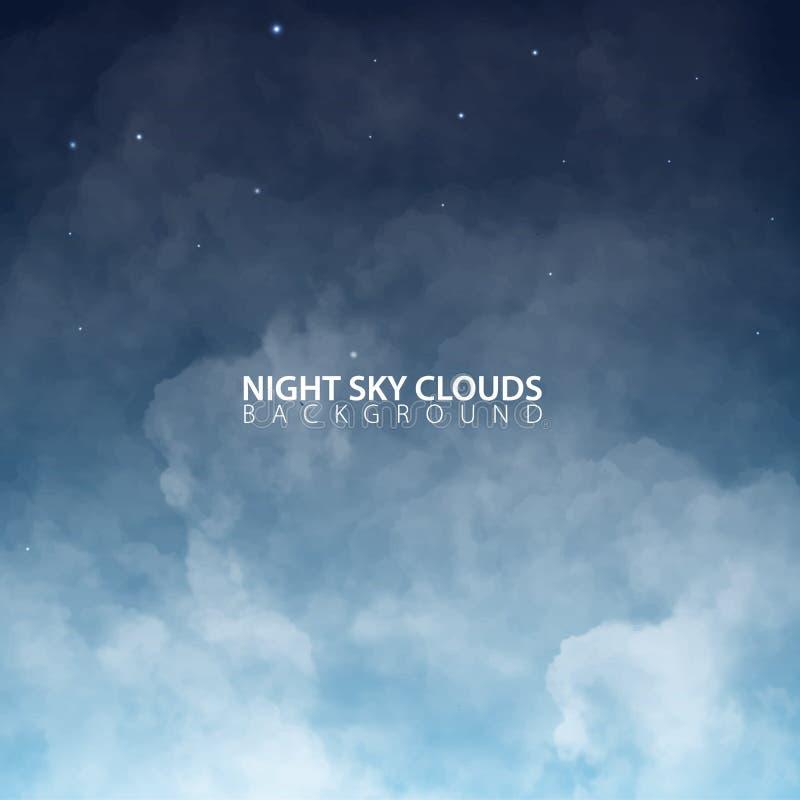 Nachthemel met witte realistische wolken Vector illustratie vector illustratie