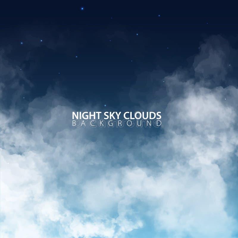 Nachthemel met witte realistische wolken Vector illustratie stock illustratie