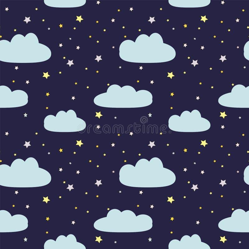 Nachthemel met wolken en sterren royalty-vrije illustratie