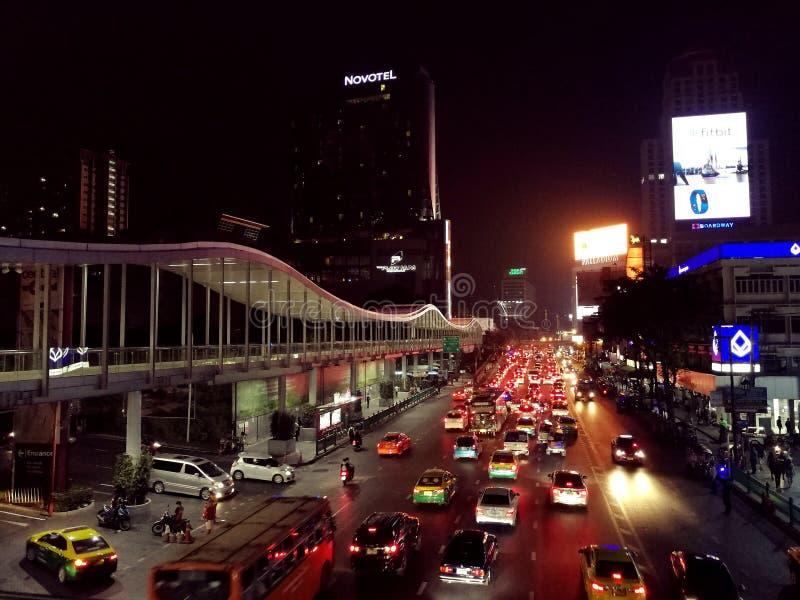 Nachthorizon van Bangkok royalty-vrije stock foto's