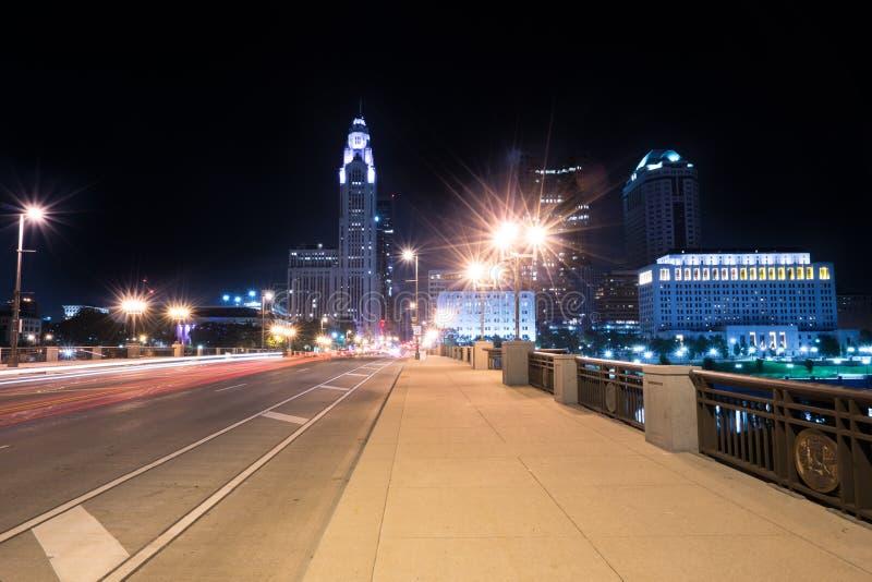 Nachthorizon van Columbus Ohio royalty-vrije stock foto's