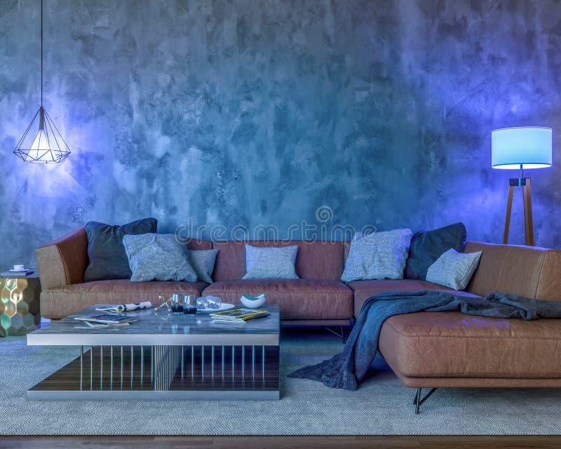 Nachtinnenraum mit blauen farbigen Lichtern stock abbildung