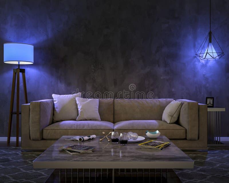 Nachtinnenraum mit blauen farbigen Lichtern lizenzfreie abbildung