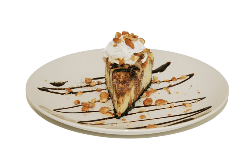 Nachtisch - Peanutty Schokoladen-Käsekuchen lizenzfreie stockfotografie