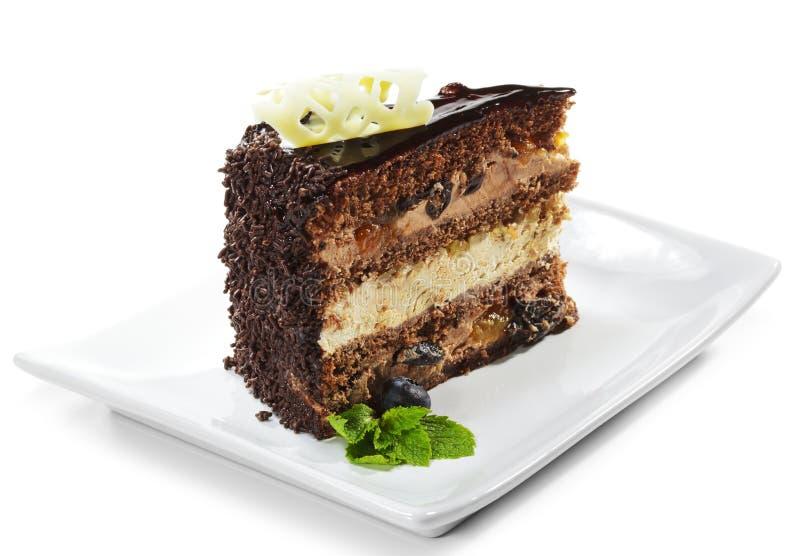 Nachtisch - Schokoladen-Schwamm-Kuchen lizenzfreie stockfotos