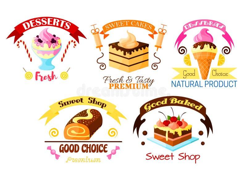 Nachtischemblemsatz, Kuchen, kleiner Kuchen, Eiscremeikonen stock abbildung