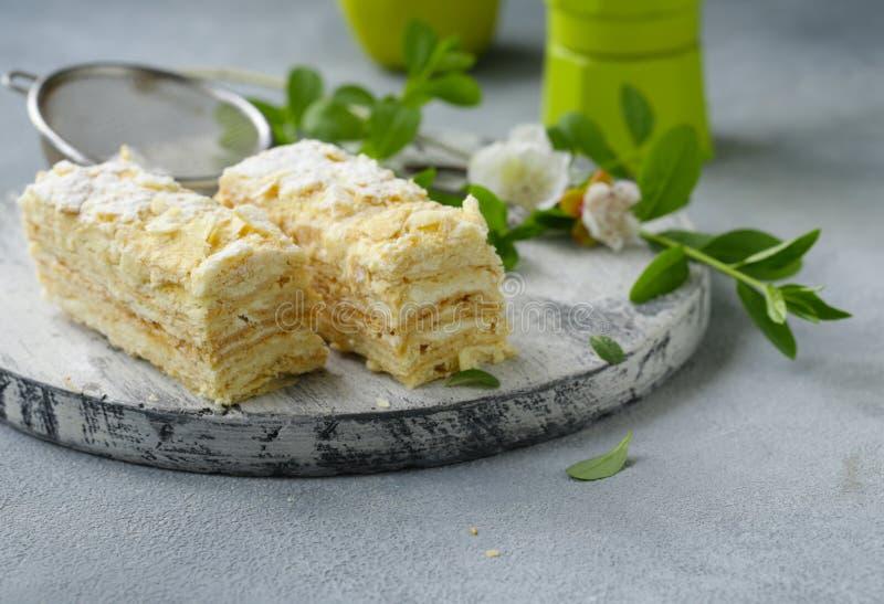 Nachtischkuchen Napoleon stockfoto