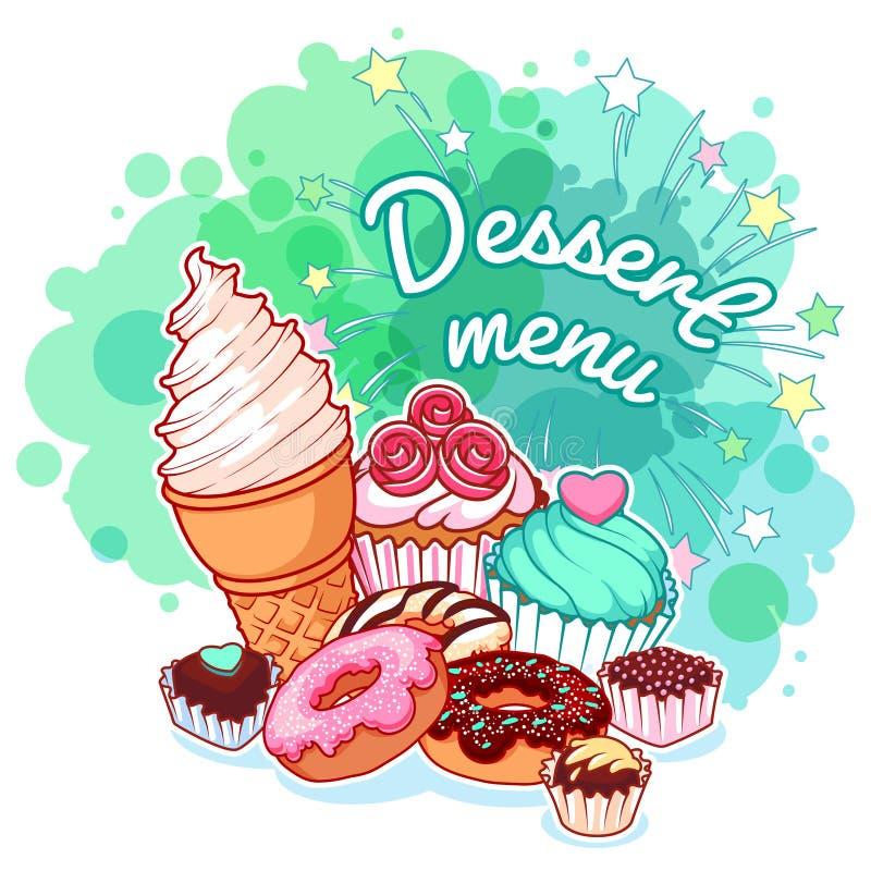 Nachtischmenü mit verschiedenen Bonbons: Eiscreme, Schaumgummiringe, Schokolade lizenzfreie abbildung