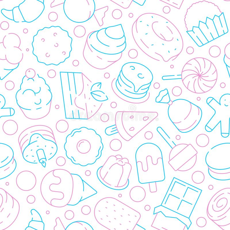 Nachtischmuster Kinderköstliche Nahrungsmittelgelieren süße Kuchenkekse nahtlosen Hintergrund des Vektors der Eiscreme-Lutscherkl vektor abbildung
