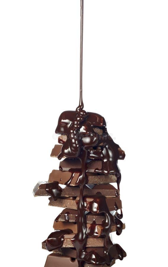 Nachtischsüßigkeitnahrungsmittelschokoladensiruplecken lizenzfreie stockfotos