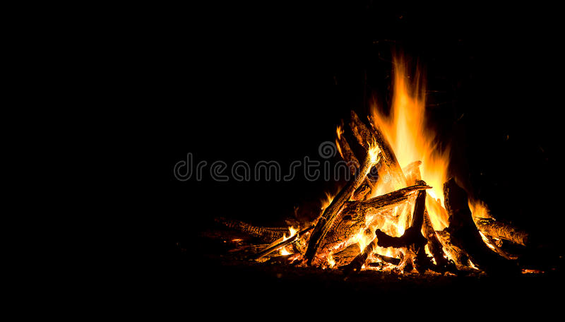 Nachtkampvuur stock fotografie
