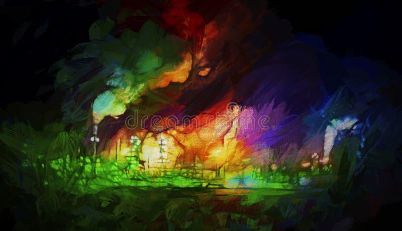 Nachtkleuren van een Raffinaderij royalty-vrije stock afbeeldingen