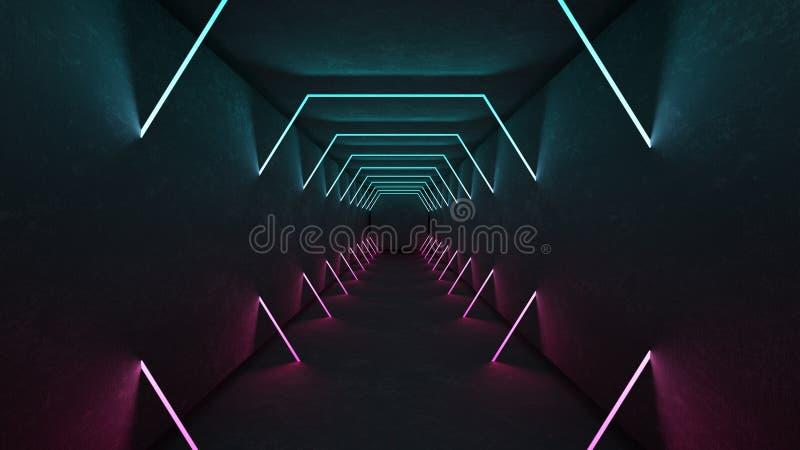 Nachtklubinnenlichter 3d übertragen für Laser-Show Gl?hende Zeilen Abstrakter Leuchtstoffhintergrund Neonraumkorridor lizenzfreie abbildung