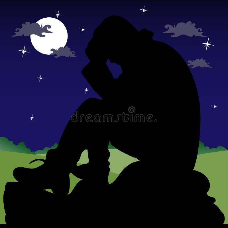 Nachtlandschaft, ein trauriger Mann, der auf einem Stein, Schattenbild auf einem d sitzt vektor abbildung