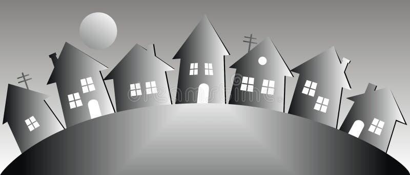 Nachtlandschaft mit Häusern und Mond, Vektorillustration stock abbildung