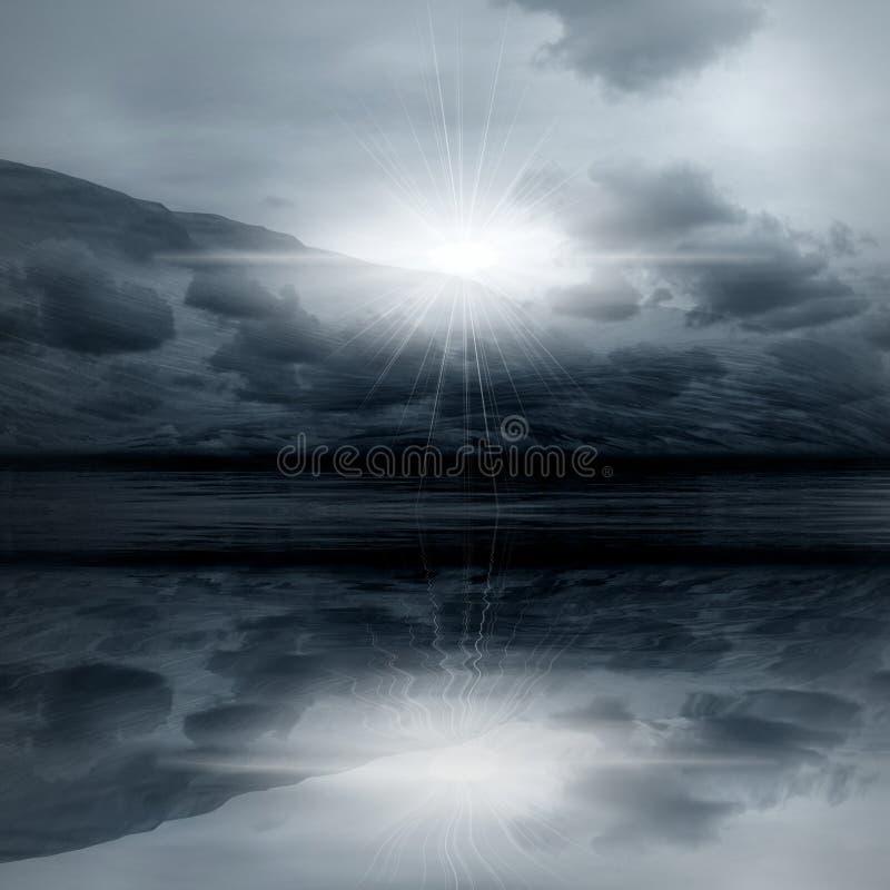 Nachtlandschaft - nebelhafte Leuchte lizenzfreie abbildung