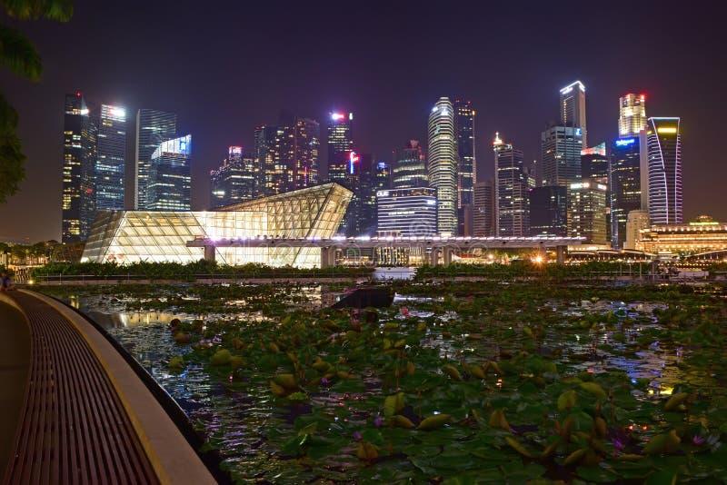 Nachtlandschaft von Singapur-Stadt genommen vom vorderen Weg der Shoppes bei Marina Bay Sands lizenzfreie stockbilder