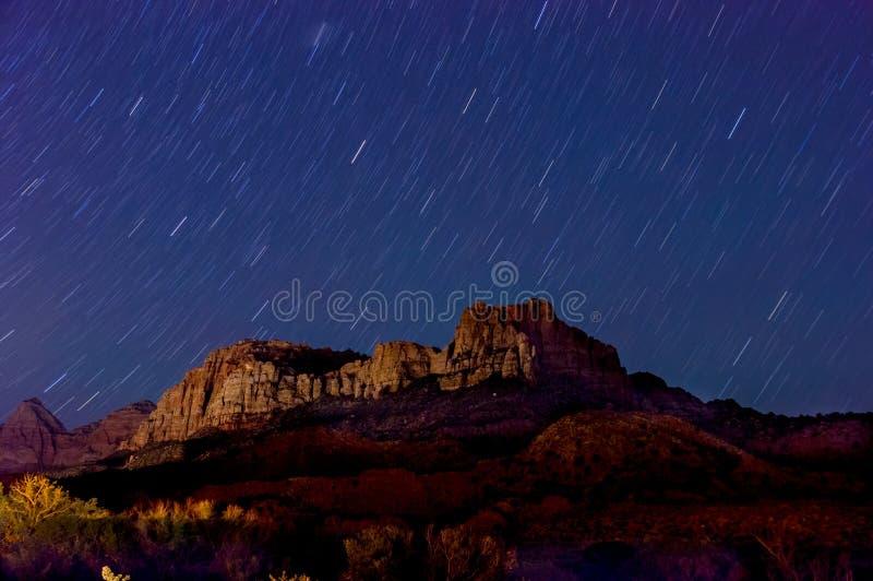 Nachtlandschaft in zion Nationalpark lizenzfreie stockfotografie