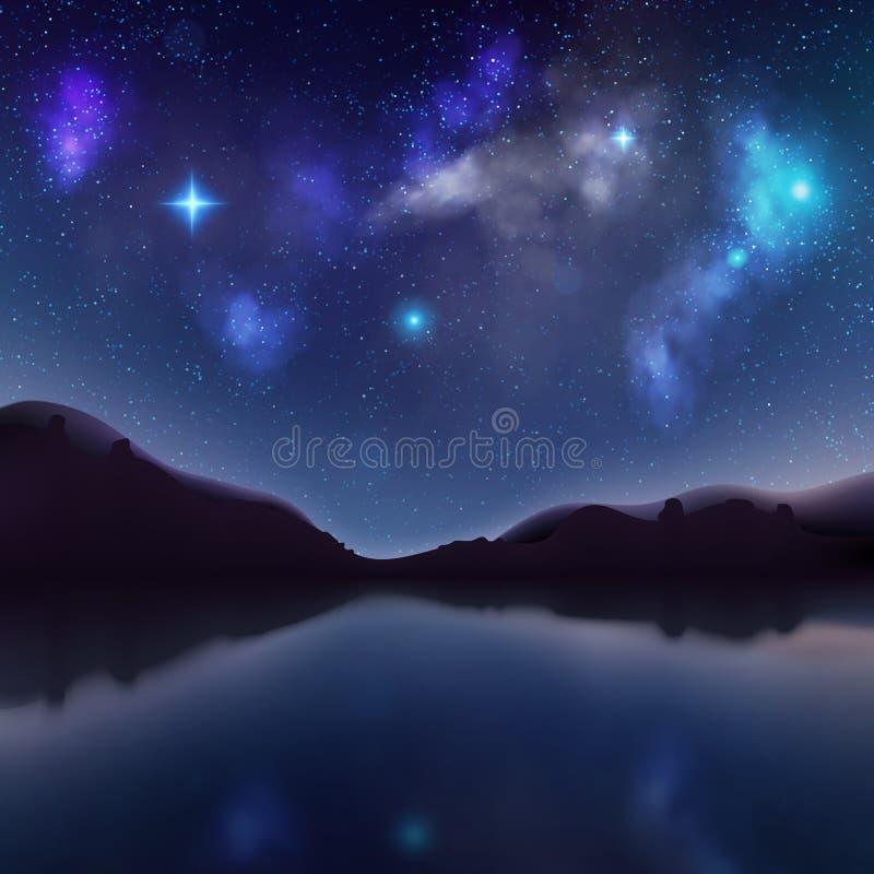 Nachtlandschap met donkere silhouetten van bergen en hemel met sterren Mystieke zonsopgangachtergrond met meer Eps 10 vector illustratie
