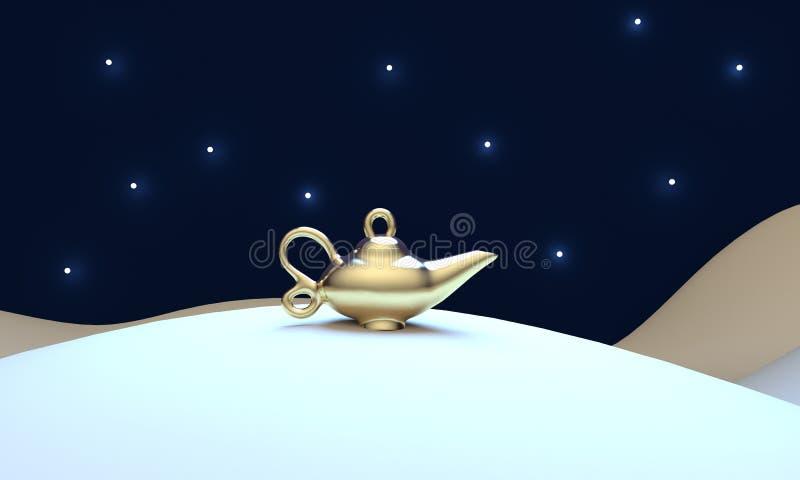 Nachtlandschap met een magische lamp in de woestijn het 3d teruggeven royalty-vrije illustratie