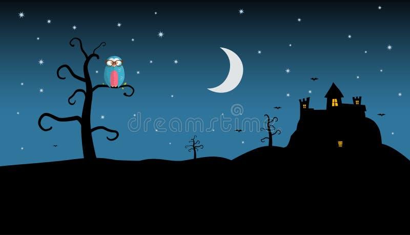 Nachtlandschap met Griezelig Kasteel en Uil op Boom vector illustratie