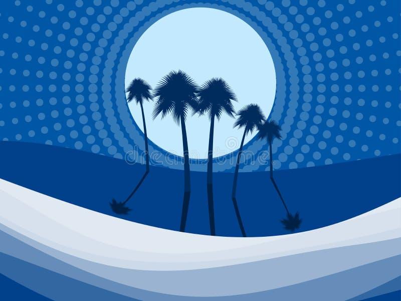 Nachtlandschap met palmen op het strand Punten in de stijl van pop-art Vector vector illustratie