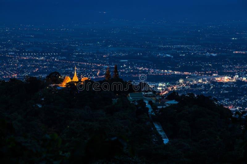 Nachtlandschap van Doi Suthep Chiang Mai, Thailand stock afbeelding
