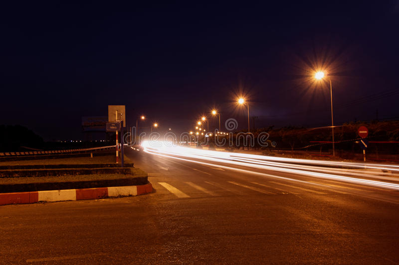 Nachtlanges Belichtungslandstraße ` 51 ` - Vietnam lizenzfreies stockbild