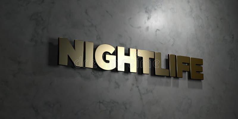 Nachtleven - Gouden tekst op zwarte achtergrond - 3D teruggegeven royalty vrij voorraadbeeld royalty-vrije illustratie