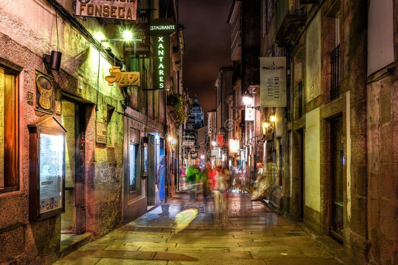 Nachtleven in Santiago de Compostella, Galicië stock afbeeldingen