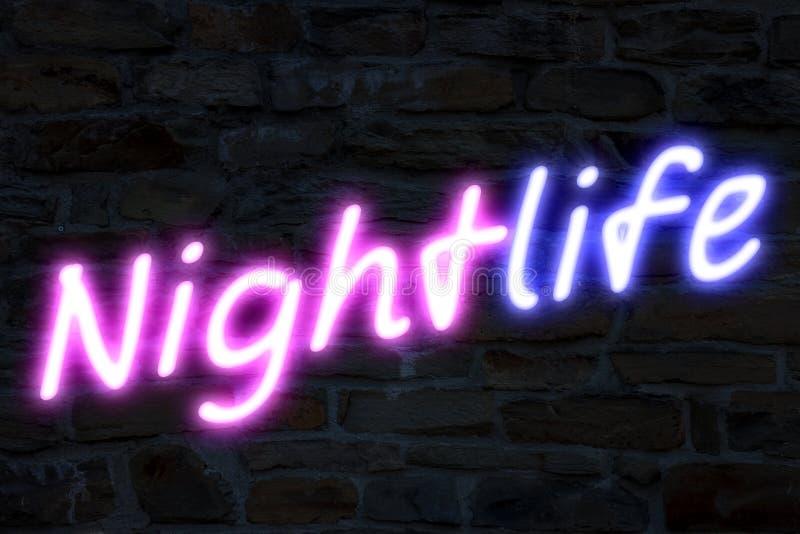 Nachtlevenneonlichten stock illustratie