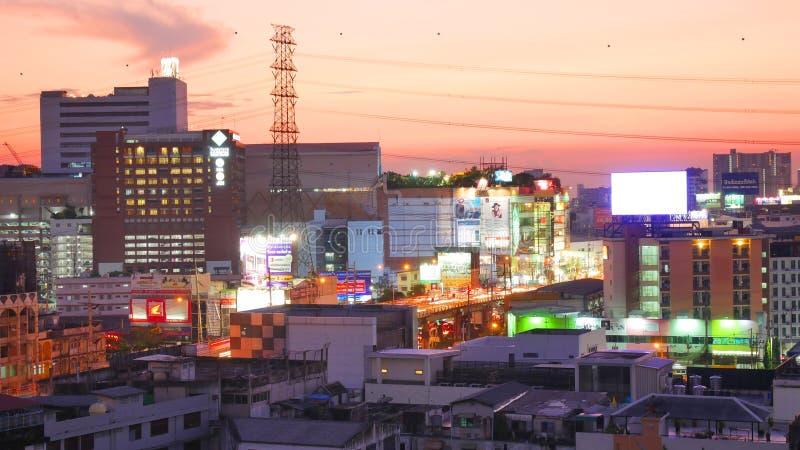 Nachtlicht in Bangkok Thailand royalty-vrije stock foto's