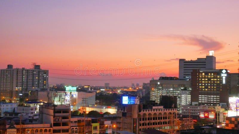Nachtlicht in Bangkok Thailand royalty-vrije stock afbeeldingen