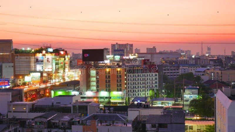 Nachtlicht in Bangkok Thailand stock afbeeldingen