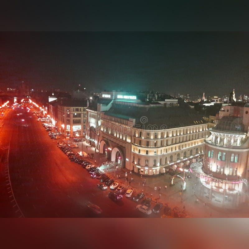 Nachtlichter, Moskau lizenzfreies stockbild
