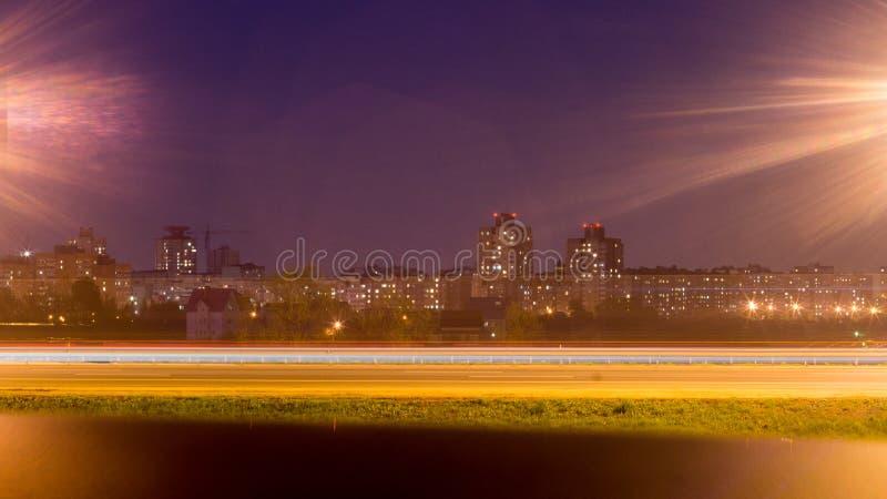 Nachtm9 weg Minsk royalty-vrije stock foto