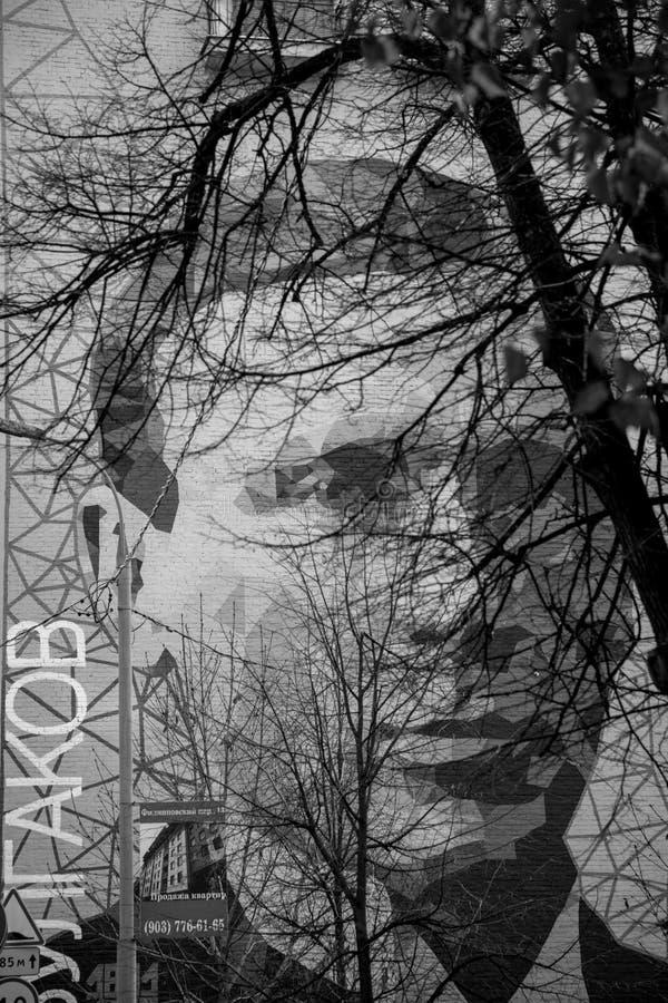 Nachtmegalopolis stock foto