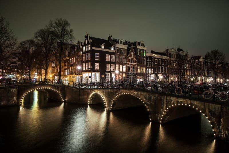Nachtmening Amsterdam royalty-vrije stock fotografie