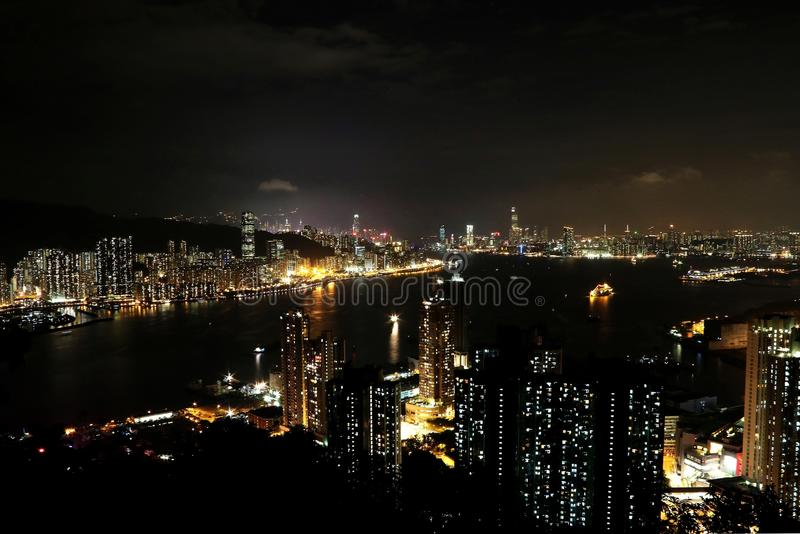 Nachtmening bij Duivels` s Piek, Hong Kong stock afbeelding